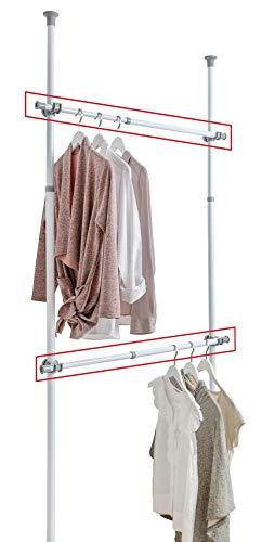 WENKO Barra para ropa HERKULES - Juego de 2 unidades, barra telescópica,...