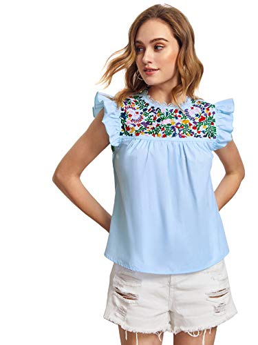 Floerns Women's Boho Embroidered Mexican Peasant Shirts Babydoll Tops...