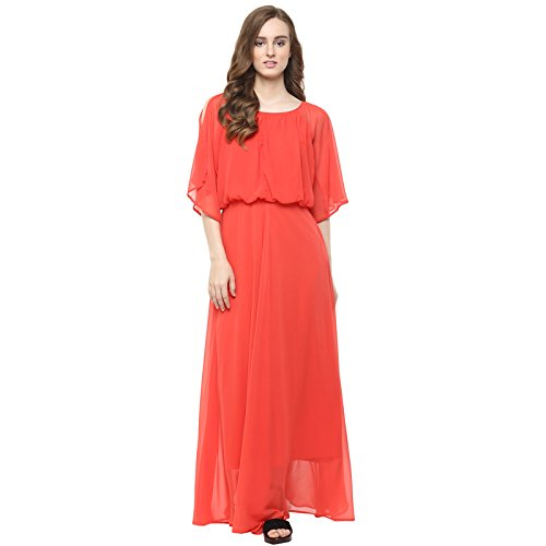 Harpa Women's A-Line Knee-Long Dress (GR3379-CORAL_Small)