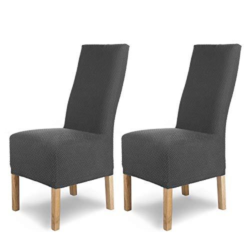 SCHEFFLER-Home Stretch Stuhlhusse Luna-Lang | 2er Set elastische Flanell Stuhlabdeckungen | Stuhlhussen Schwingstühle | Spannbezug mit Gummiband | Elegante Stuhlbezüge