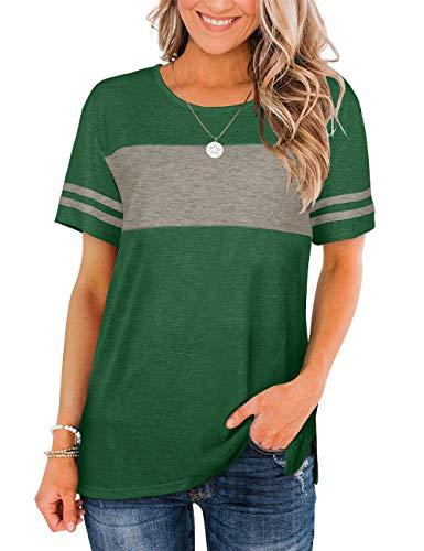Bofell Womens Tshirts Short Sleeve Summer Tops Color Block Side Split Shirts Crew Neck
