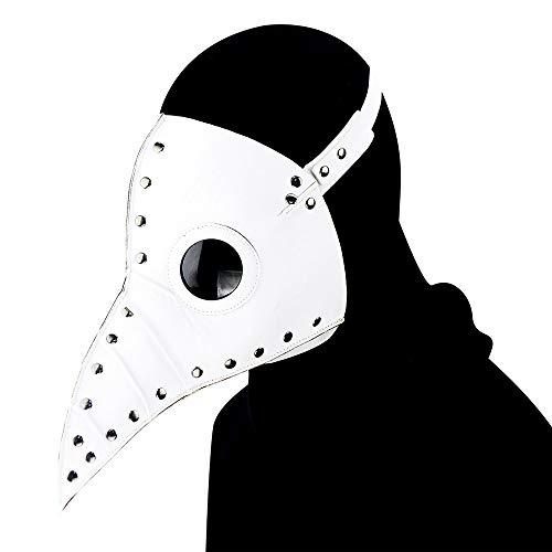 Ydq Punk Plague Doctor Halloween Scary Maske,Pestmaske Kostüm,Funny Weihnachten Party Dekoration Props KostüM,Kopfmaske Party Fasching Cosplay Venedig-Maske,Weiß
