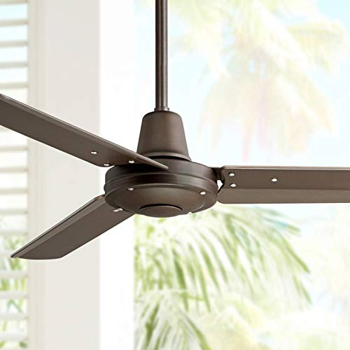 """44"""" Plaza Industrial Indoor Outdoor Ceiling Fan with Remote Control Oil Rubbed Bronze Damp Rated for Patio Porch - Casa Vieja"""