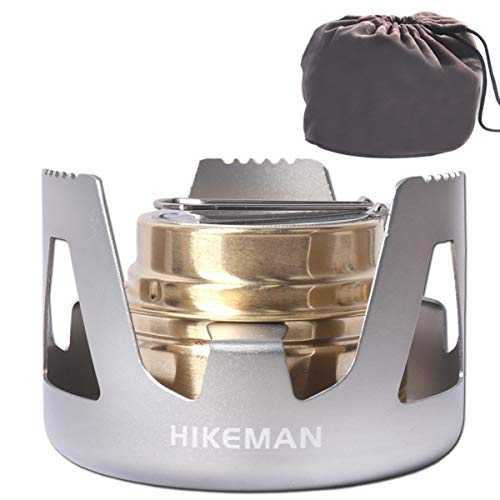 Hikeman Spirit Burner Lightweight Backpacking - Brass Ultra-Light Alcohol Stove For Hiking, Camping, BBQ, Picnic, Outdoor To Boil Water, Make Coffee, Cooking, Portable Meths Burner (Silver)