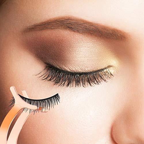 Arroyner 4Pcs Eyelashes Tool Fake Lash Applicator Eyelash Curlers Eyebrow Scissors (Rose Golden)