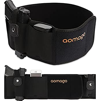 Aomago Belly Band Holsters for Conceal Carry with Extra Mag Pouch-Small Adjustable Waistband Gun Holster for Men & Women Fits Glock Bodyguard 380 Taurus 1911 Sig Sauer etc