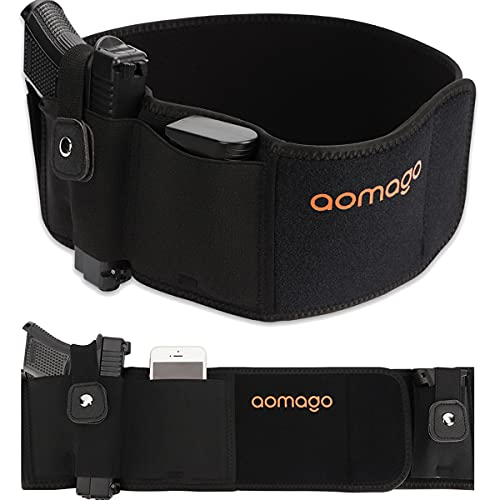 Aomago Belly Band Holsters for Conceal Carry with Extra Mag Pouch-Small Adjustable Waistband, Gun Holster for Men & Women, Fits Glock, Bodyguard 380, Taurus 1911, Sig Sauer, etc