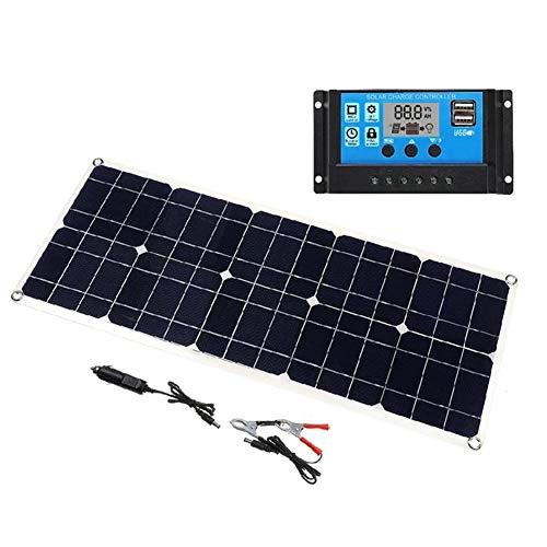 50W 5V / 18V Solar Panel Dual USB Output Monokristalline Solar Panel IP65 Wasserdicht mit 10A Solarladeregler Regler for Auto-Yacht Batterys Boot-Ladegerät Solaranlage SolarKabeln und SolarLaderegler