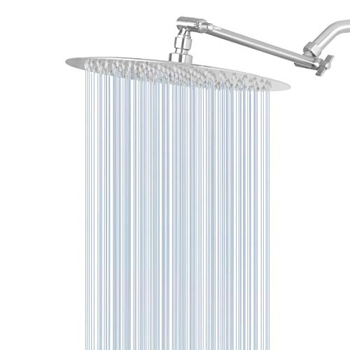 Rain Shower Head with 11'' Adjustable Arm, NearMoon High Pressure Stainless Steel Rainfall Showerhead, Ultra-Thin Design - Pressure Boosting, Awesome Shower (12-Inch Shower Head with Arm, Nickel)