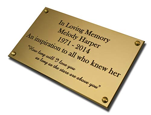 4' x 2' Rectangular solid brass engraved nameplate. Personalised engraved memorial plaque