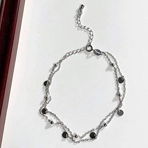 S&RL Ladies Decorative Bracelet ,S925 Full-Body Sterling Silver Smart Double Layer Silver Bracelet, Female Thin Round Anklet Ankle Chain Anklet, 925 Silver