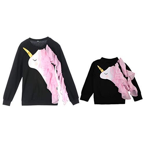Sudadera Mama e Hija Igual Manga Larga Ropa Madre y Bebe Niña con Estampado de Unicornio Blusa para Mujers Niñas Camiseta Familia