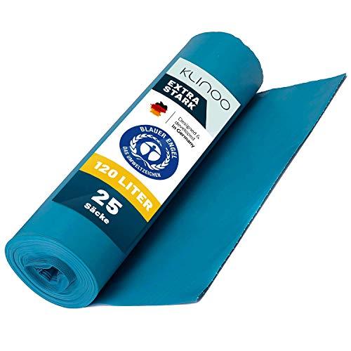Extra Starke blaue Müllsäcke 120 Liter - Reißfeste Müllbeutel XXL - Typ 100 - Stabile Mülltüten für Haushalt, Gastronomie und Gewerbe als Abfallsack - Blauer Engel (Blau, 1 Rolle)