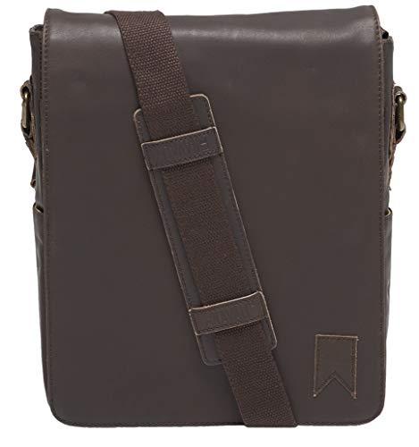 Navali Mariner Vintage Leather Satchel Messenger Bag - Cross-body Shoulder Bag (Brown)