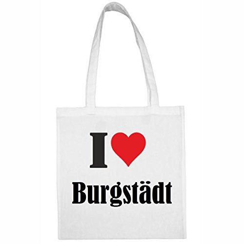 Tasche I Love Burgstädt Größe 38x42 Farbe Weiss Druck Schwarz