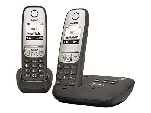 Gigaset A415A Duo - Teléfono inalámbrico (DECT, 50 m, 300 m, 100 entradas) Negro