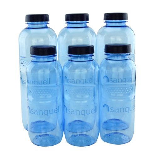 Hochwertige und stabile Wasserflaschen aus Tritan - ohne Bisphenol A (BPA) mit Verschlußdeckel - 3 x 1,0 Liter + 3 x 0,5 Liter - Paket 07