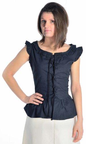 HEMAD Damen Bluse Mittelalter Schnürbluse ärmellos schwarz XL