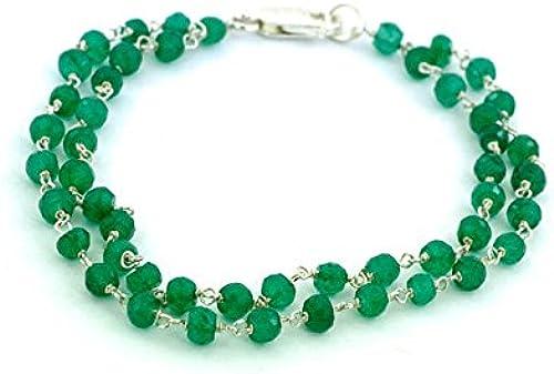 3 -4  ZWeißeile kolumbianischen Smaragd Perlen Armband in Sterling Silber Draht, individuelle L e und Finish Option