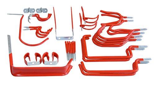 Connex Wandhaken-Sortiment 32-teilig - 14 verschiedene Größen - Mit schützendem Gummiüberzug - verzinkt / Universalhaken / Montagehaken für Garage / Werkstatthaken / Ordnungshelfer / DY250829