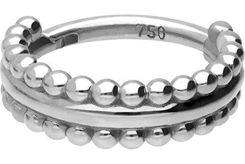 PIERCINGLINE 750er Gold Segmentring Clicker | 18 KARAT | 2 KUGELREIHEN | Piercing Ring Nase Septum Ohr Helix | Farb & Größenauswahl