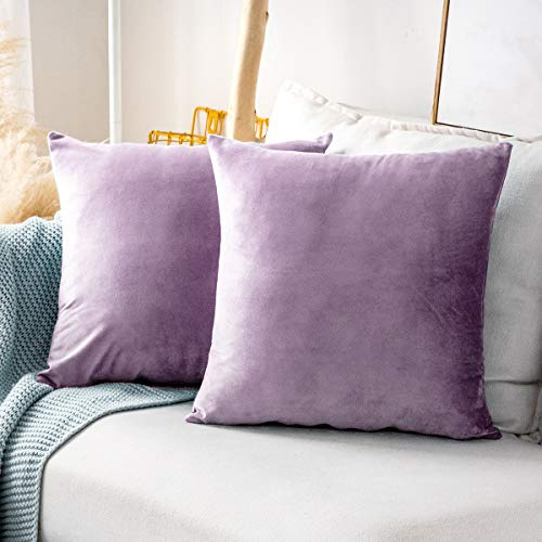 MUDILY One Piece Velvet Soft Decorative Square Throw Pillow Covers Cushion Case Decor Handmade Pillowcases for Chair Bedroom Sofa Car, Lavender 24 x 24 Inch 60 x 60 cm
