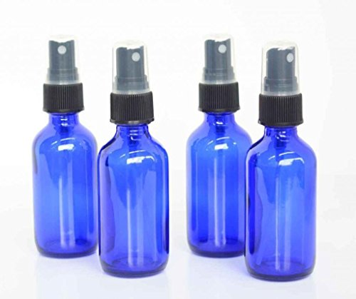 My Oil Gear – Blue 4oz Glass Bottle with Pump for Essential Oils, Perfumes, Creams, Lotions, and More (4-Pack)