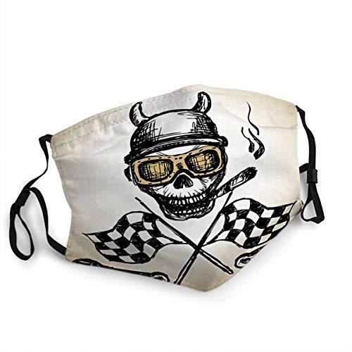 Gesichtsschutz Mundschutz Wiederverwendbarer Schutz Motorradetikett mit Skul Flames und Flagge