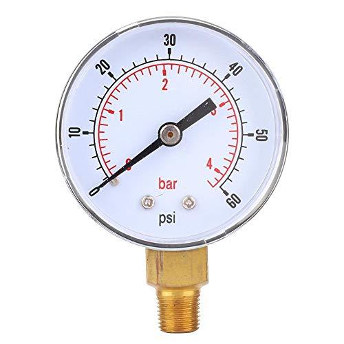 "1/8 ""BSPT-Bodenanschluss Vakuum-Manometer Dual-Skala 50 mm-Messuhr-Anzeige Luft Wasser Öl Gas-Manometer-Messgerät(0-60psi 0-4bar)"