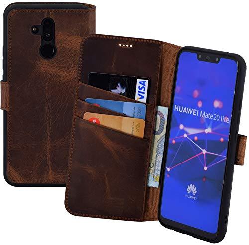 Suncase Book-Style kompatibel für Huawei Mate 20 Lite Hülle (Slim-Fit) Leder Tasche Handytasche Schutzhülle Case (mit Standfunktion & Kartenfach - Bruchfester Innenschale) in antik Coffee
