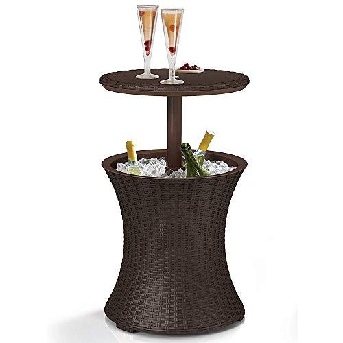 Rattan Style Tischbar Gartenmöbel Anthrazit Rattan Style Terrasse Cool Table - Höhe einstellbar Party Party Bar im Freien Braun