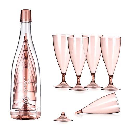 Lanthour Copas de Vino Plastico, Juego de 5, de 200ml, Desmontable Copas para vino blanco con botella, BPA Gratis Vaso de Vino, Elegantes y portátil para el hogar, fiesta, cámping, picnic(Oro rosa)