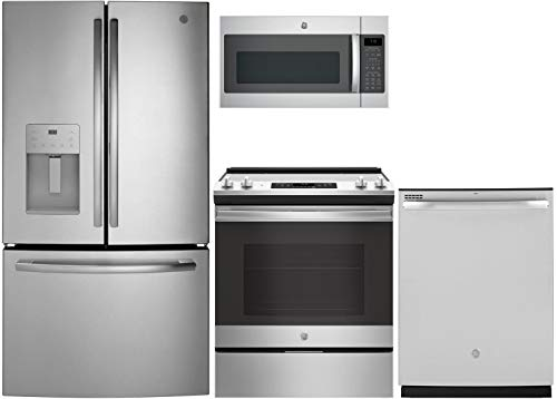 """GE 4 Piece Kitchen Package with GFE26JSMSS 36"""" Refrigerator, 30"""" Slide-in Electric Range, GDT605PSMSS 24"""" Built In Dishwasher and JVM7195SKSS 30"""" Over the Range Microwave in Stainless Steel"""