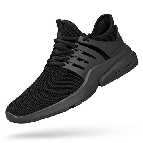 Troadlop Men's Running Shoes Non Slip Tennis Sneakers Lightweight Fitness Slip Resistant Athletic Sports Walking Gym Work Jogging Shoes Black 9.5