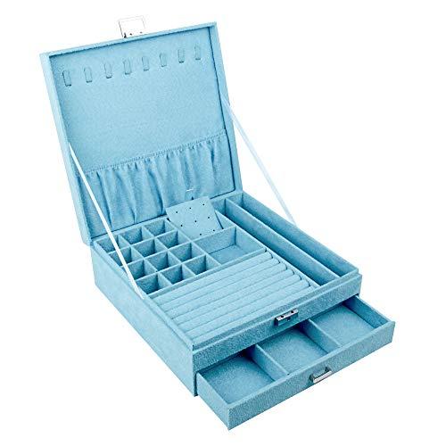 Boîte à bijoux 2 couches avec tiroirs, boîte de rangement...