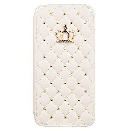 """Sweau Handyhülle für iPhone 11 Pro 5.8"""",Stoßfeste Handyhülle Handytasche Leder Hülle mit Verstecktem Magnetverschluss Tasche Cover Kompatibel mit iPhone 11 Pro 5.8"""",Krone-Weiß"""