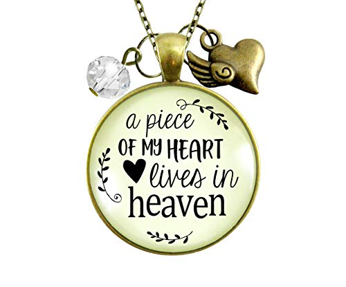 Gutsy Goodness 36' Memorial Necklace Piece of My Heart Lives Heaven Remembrance Jewelry