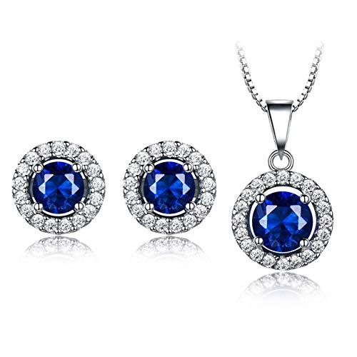 KnSam Collar para mujer, pendientes de plata redondos, joyas de boda de plata 925 para mujer con esmeralda verde, Plata 925., Creado-Azul Zafiro,