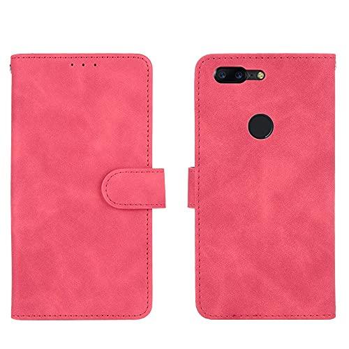 ZHIWEI Caso del tirón del teléfono Funda de Billetera para OnePlus 5T, Cartera de Cuero PU con Tapa de la Tarjeta de crédito Cubierta Protectora a Prueba de Golpes para OnePlus 5T (Color : Rose Red)