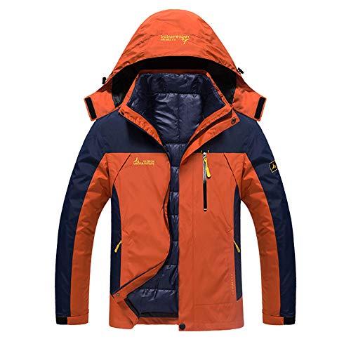 JIANYE 3 in 1 Jacke Herren Softshell Jacke Damen Wasserdicht Wanderjacke Atmungsaktiv Funktionsjacke Outdoor Skijacke Warm Doppeljacke Orange 5XL