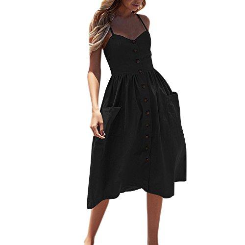 SANFASHION Damen Sommer Sexy Knöpfe Kleider Spaghettiträger Rückenfreies Partykleid Ärmellos Schulterfrei Strandkleider