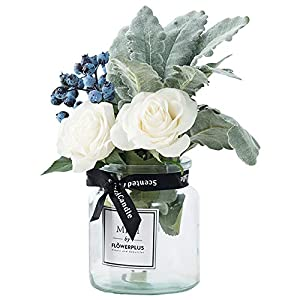 HEBE Artificial Flowers with Vase, Fake Rose Flowers in Glass Vase,Faux Flower Berry Arrangements for Home Decor,Light Lilac