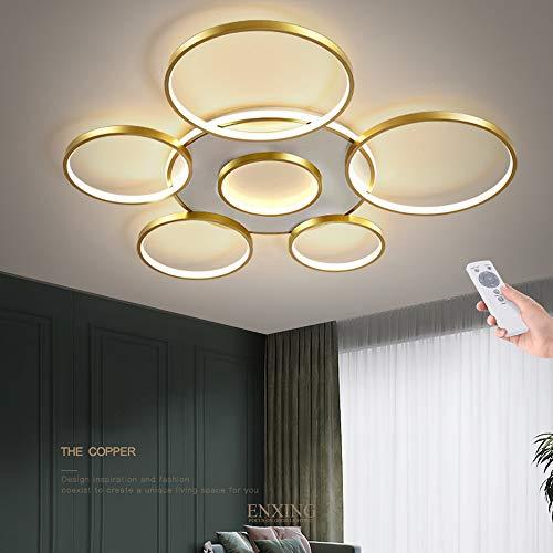 LED Deckenleuchte Wohnzimmerlampe Dimmbar Deckenlampe Mit Fernbedienung 106W Modern Decke Schlafzimmerlampe Acryl Lampenschirm Aluminium Design Lampe Esszimmerlampe Bürolampe Küchelampe,Gold