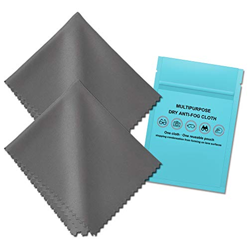 Anti Fog Cleaning Cloth, Reusable Anti-Fog Lens Wipes (2 Pack), Prevent Fogging for Glasses, Goggles, Mirror, Helmet, Camera Lens Surfaces