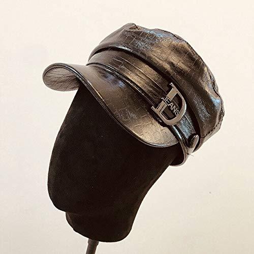 Qb Moda para Mujer Sombreros Militares Brillantes Boinas de Viaje Gorra Plana Casual Otoño Invierno...