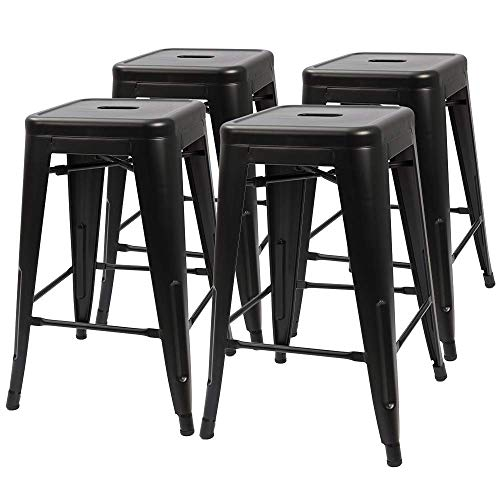 Furmax 24 Inches Metal Bar Stools High Backless Indoor-Outdoor Counter Height Stackable Stools Set of 4(Black)
