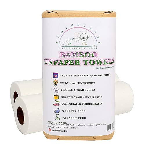 Bamboo Paper Towels - Washable Reusable Paper Towels, 2 Rolls, 1 Year...