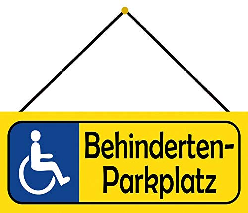 NWFS gehandicapten-parkeerplaats (gele parkeerbord met rolstoel blauw) metalen bord bord metalen bord metaal tin teken gewelfd gelakt 10 x 27 cm met koord