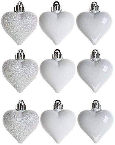 Toyland Pack Of 9-6cm White Love Heart Baubles - Shiny, Matte & Glitter - Christmas Ornaments…