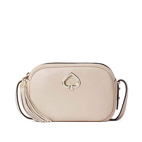 Kate Spade Kourtney Camera Leather Crossbody Bag Purse Handbag style # wkru6817 (Warm Beige)